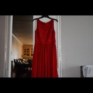 Red Halted Engraved Dress